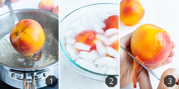Learn how to peel peaches in these instructional photos quickly and easily by boiling in water and then immersing in an ice bath followed by peeling the soft skin off with a paring knife.