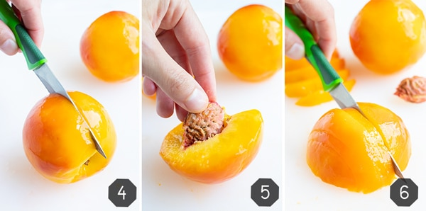Step by step pictures of a peeled peach being cut in half and the pit being removed before being sliced.