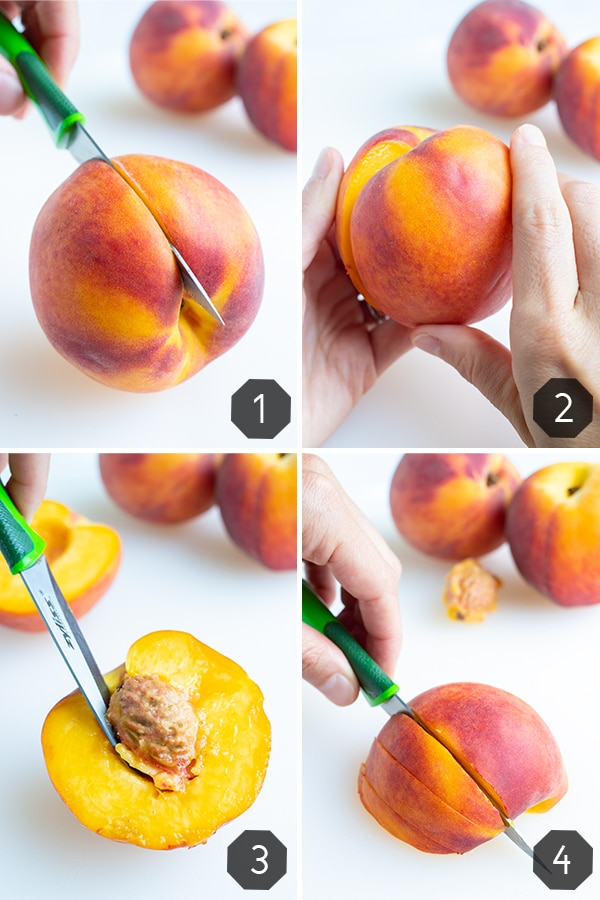 Step by step pictures of cutting a whole peach in half, pitting the peach, and then cutting into half inch sliced without peeling the fruit first.