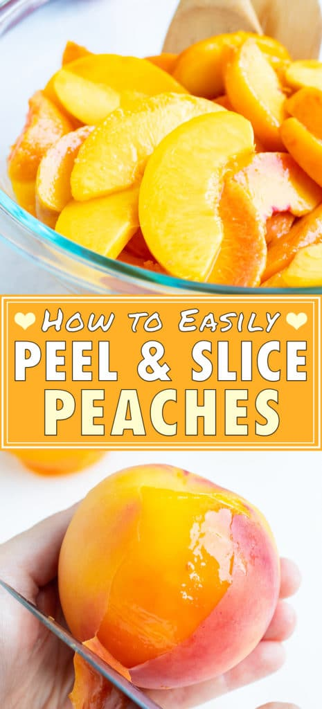 Ripe, sliced and peeled, peaches are set in a glass bowl on the counter.