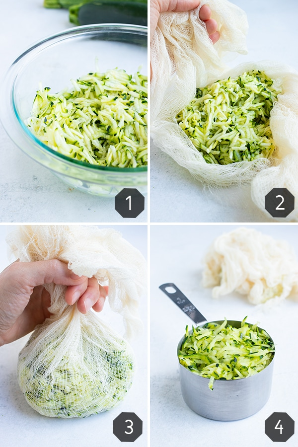 Step by step instructions for removing all the excess moisture from the grated zucchini.