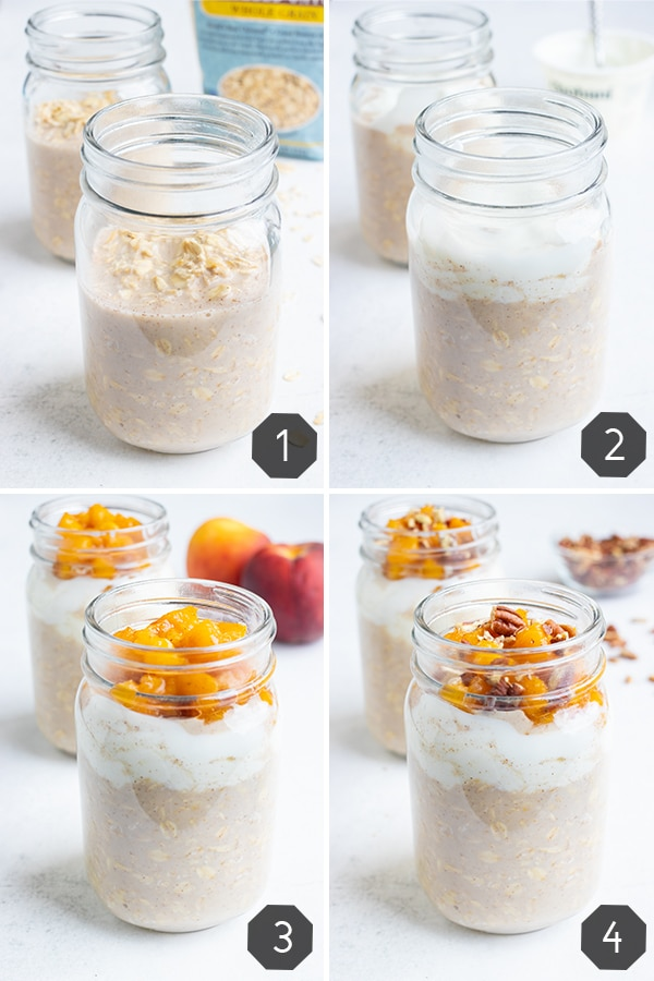 Step by step instructions for how to make peaches and cream overnight oats with milk, oats, yogurt, spices, and fresh peaches.