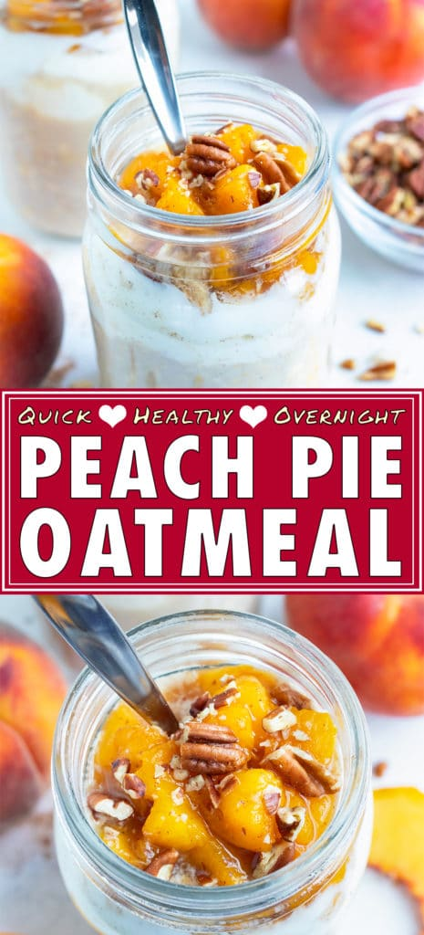 Peach cobbler overnight oats are made in a mason jar for an easy, on-the-go breakfast or snack.