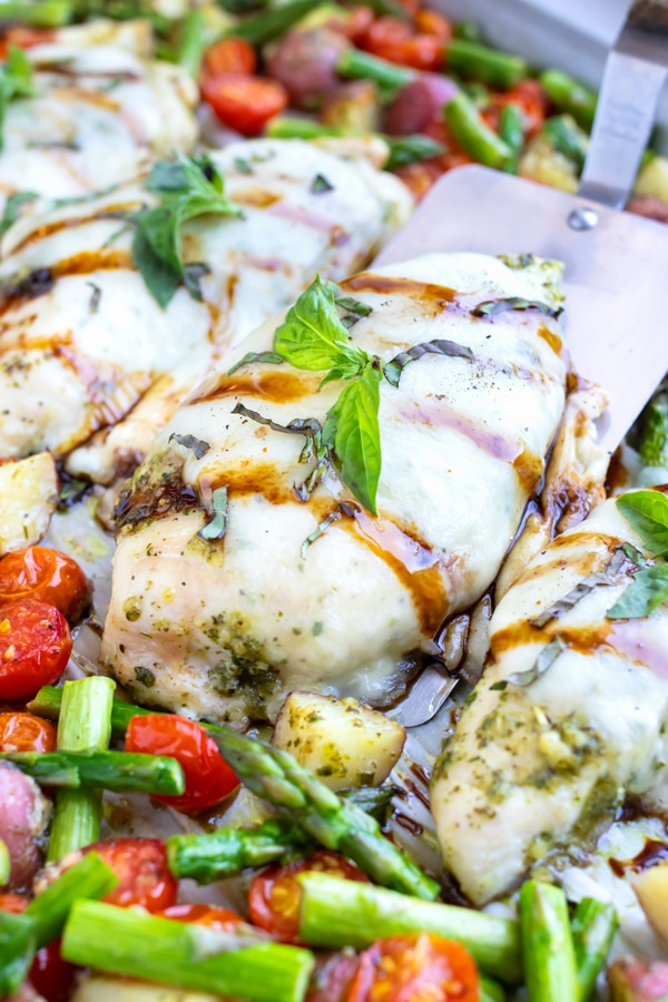 Baked caprese chicken covered in mozzarella and pesto is drizzled with balsamic glaze and topped with fresh basil in this sheet pan meal.