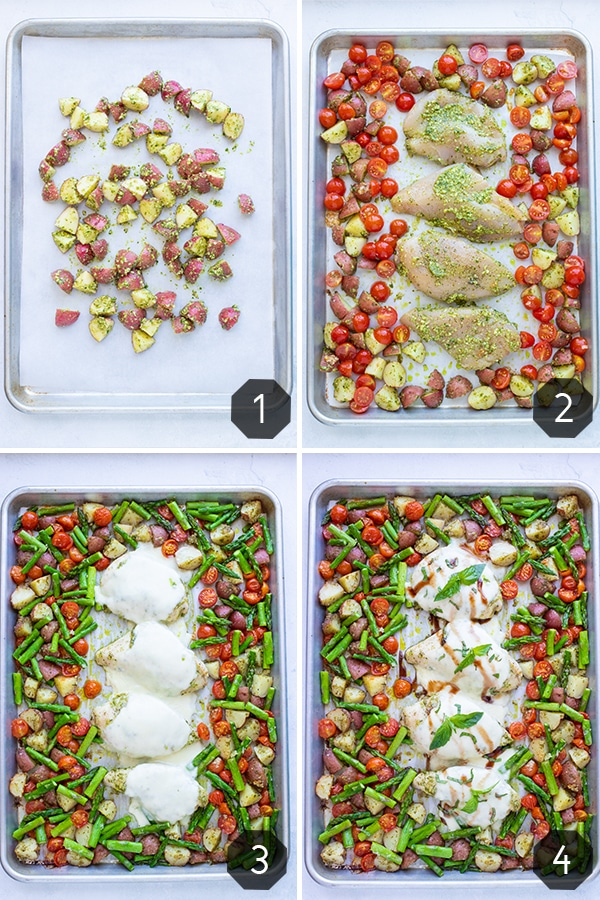 How to make sheet pan caprese chicken by adding potatoes, tomatoes, chicken, mozzarella, and asparagus at different times so they all cook evenly.