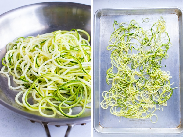 Zucchini noodles cooking in a skillet pan or on a big sheet pan.