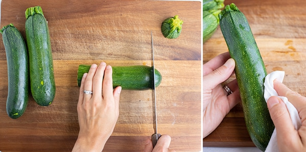 Instructional photos for slicing and preparing zucchini to be spiralized into zucchini noodles.