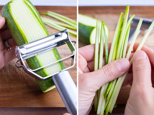 How to use a Julienne Peeler to grate zucchini to make zucchini noodles as a pasta alternative.