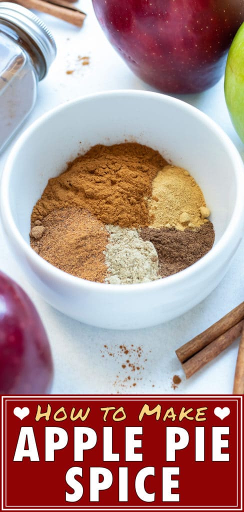 Apple Pie Spice mix is made with a blend of nutmeg, cinnamon, allspice, cardamom, and ginger.
