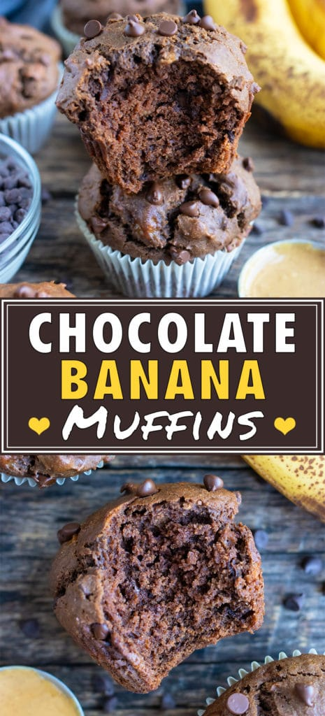 Double Chocolate Banana Muffins With Peanut Butter Evolving Table