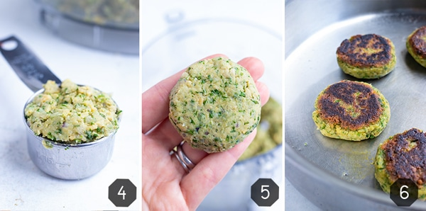 Step-by-step photos showing how to shape dough into a falafel patty and then cook in a skillet until crispy.