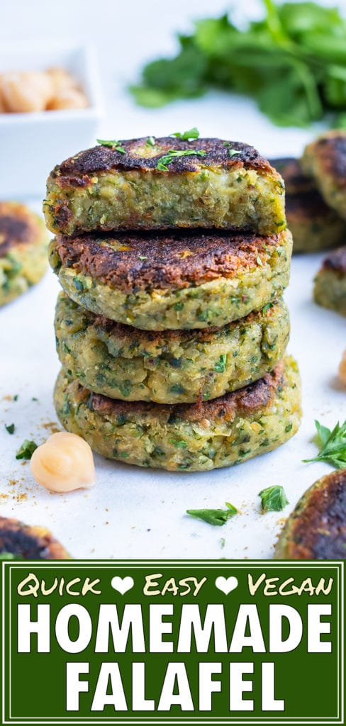 The best vegetarian falafel is stacked on the counter for an easy Mediterranean dish.