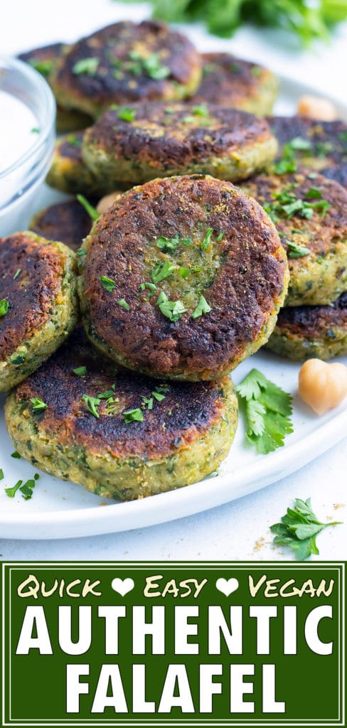 Vegan homemade falafel made with fresh parsley and chickpeas are ready to be eaten.