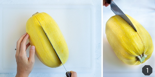 Instructional pictures for how to cut in half a spaghetti squash.