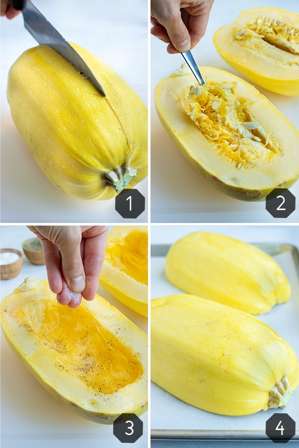 Instructional photos for how to cut and prepare spaghetti squash to roast.