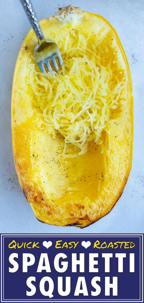 Spaghetti squash is baked in the oven for a vegan side dish.