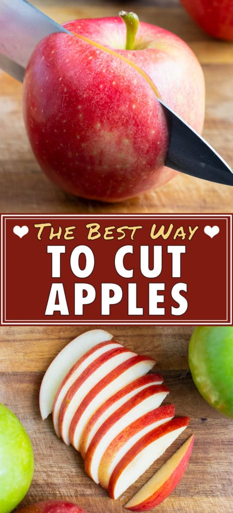 The best way to cut an apple is by coring and then slicing.