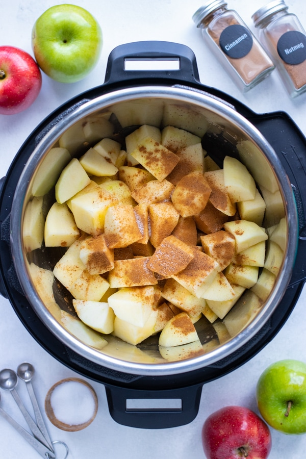 Cubed apples, spices, water, and lemon juice are added to the pressure cooker.
