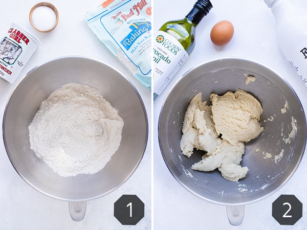 Instructional photos showing the process of making pita bread dough.