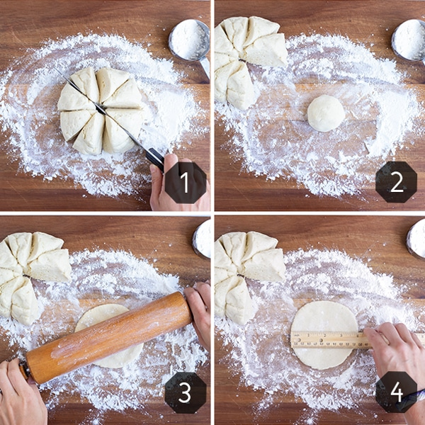 Step by step pictures showing how to prepare pita bread dough before cooking.