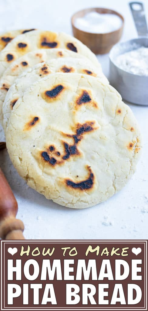 Homemade pita bread recipe is made with just a few simple ingredients, for an authentic Greek-style bread.