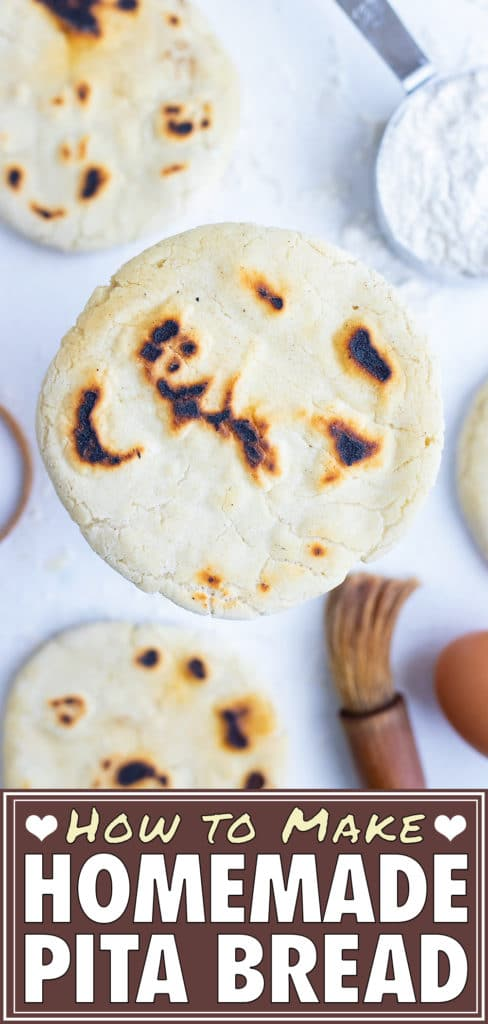 Fluffy Pita Bread is ready in under 30 minutes and laid on the counter before adding to a Mediterranean meal.
