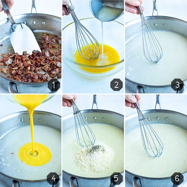 Step by step pictures for how to make a healthy carbonara sauce.