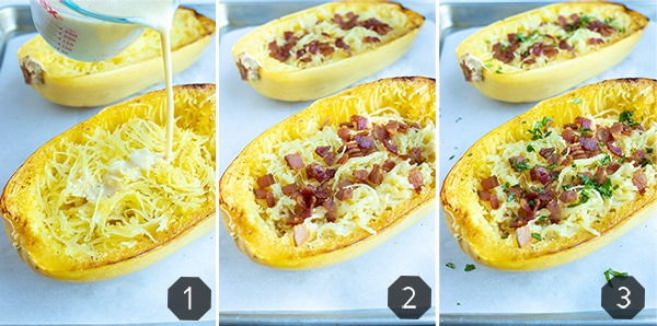 Instructional photos showing how to make spaghetti squash stuffed with healthy carbonara sauce.