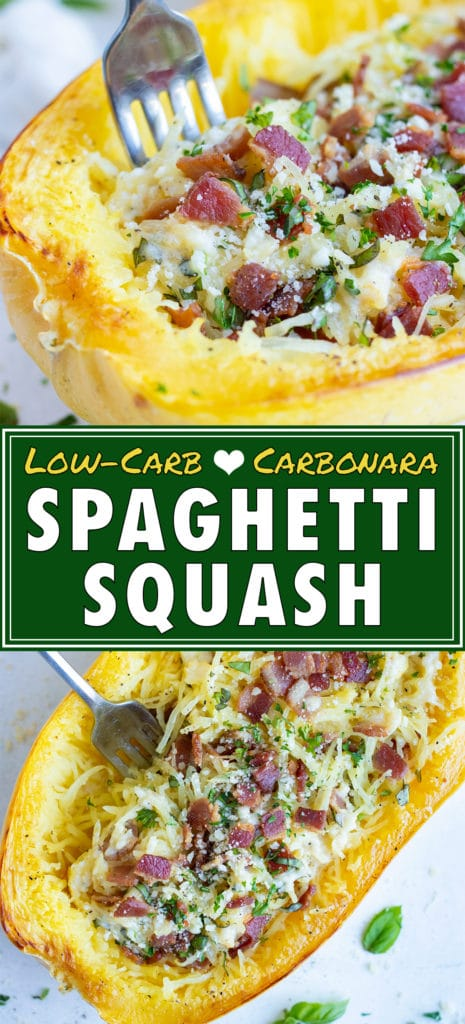 Spaghetti squash is stuffed with carbonara squash, bacon, parsley, and parmesan for a healthy main dish.