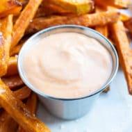 Pair this spicy, homemade Sriracha Mayo with fries.