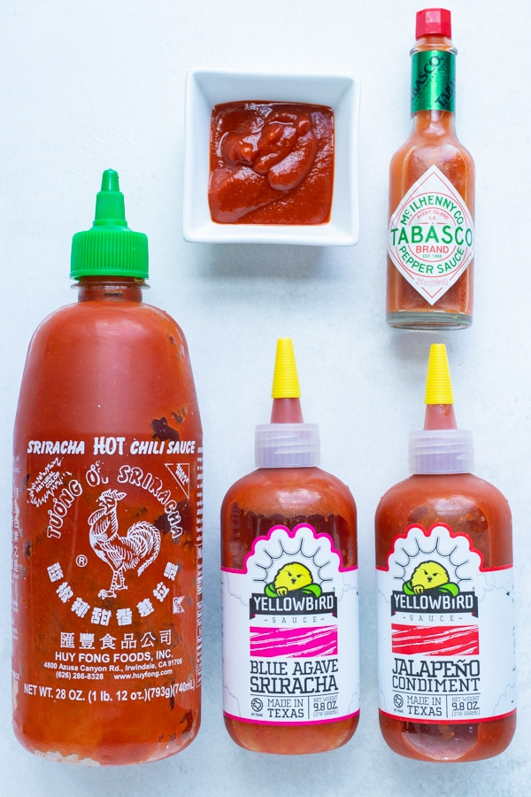 Different types of Sriracha and hot sauce can be used in this recipe.