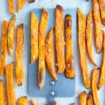 Learn how to make homemade sweet potato fries that are healthy and crispy.