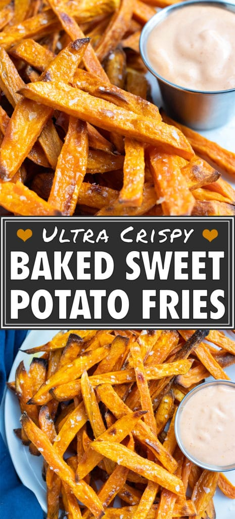 Homemade sweet potato fries are taken off parchment paper after baking.