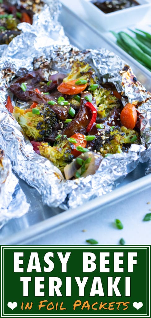 Beef teriyaki recipe is made in a foil packet on the grill or in the oven.