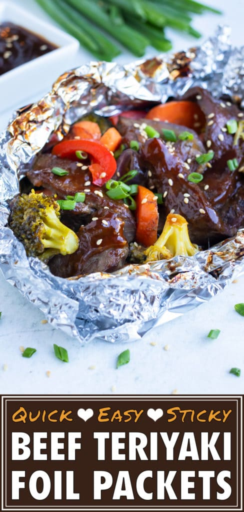 Steak and vegetables are cook in a foil packet for this Beef Teriyaki recipe.