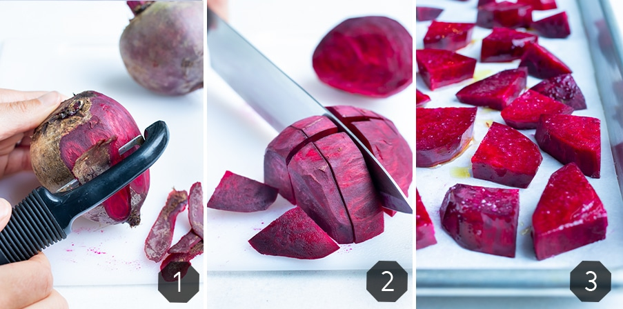Instructional photos for how to prepare roasted beets.
