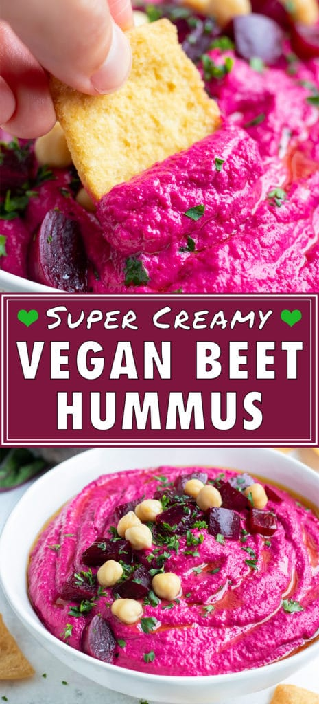 Easy roasted beet hummus is served with crackers or veggies.