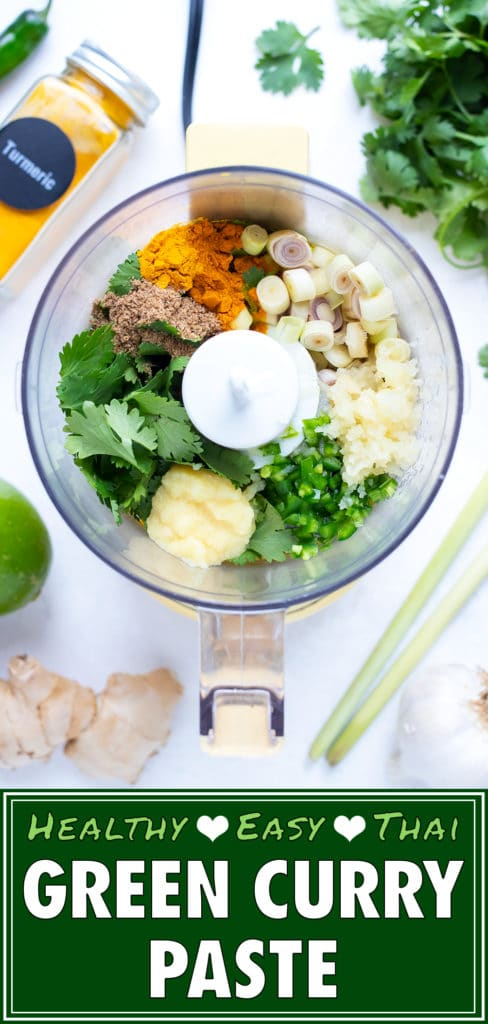 Ingredients are placed in a food processor to be blended into the best green curry paste.