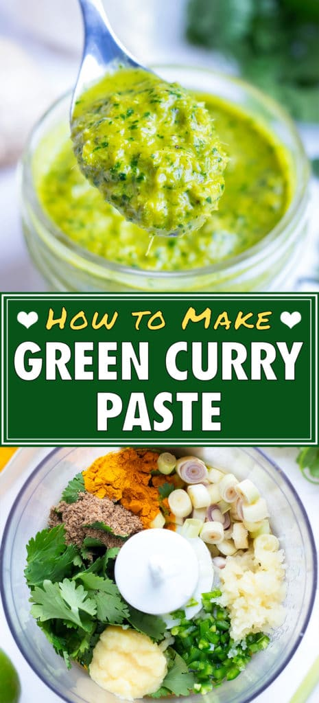 The best homemade Thai green curry paste is lifted up with a spoon.