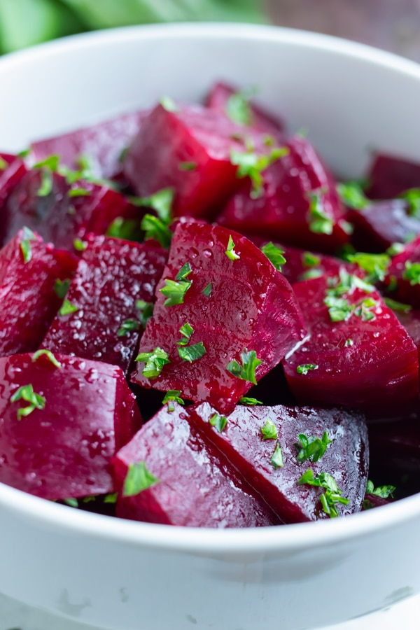 Tender beets are chopped after being boiled and peeled.