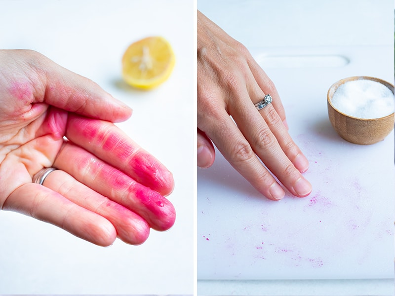 Instructional pictures show tips for removing stains from counter or skin.