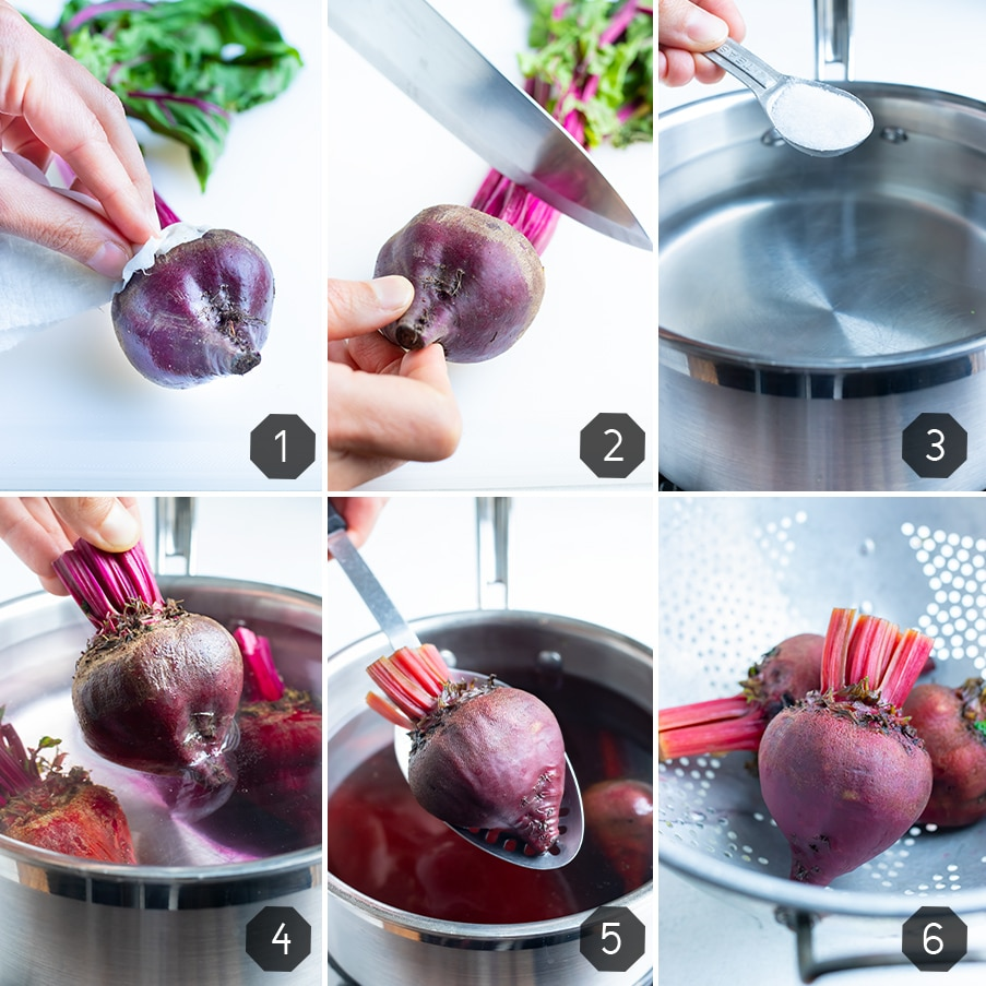 Instructional photos show how to boil whole beets.
