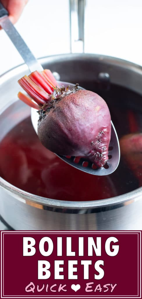 Beets are removed from the pot of water and are easily peeled after being boiled.