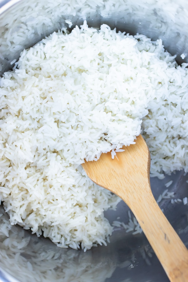 Tender white rice is made in the instant pot for a simple side dish.