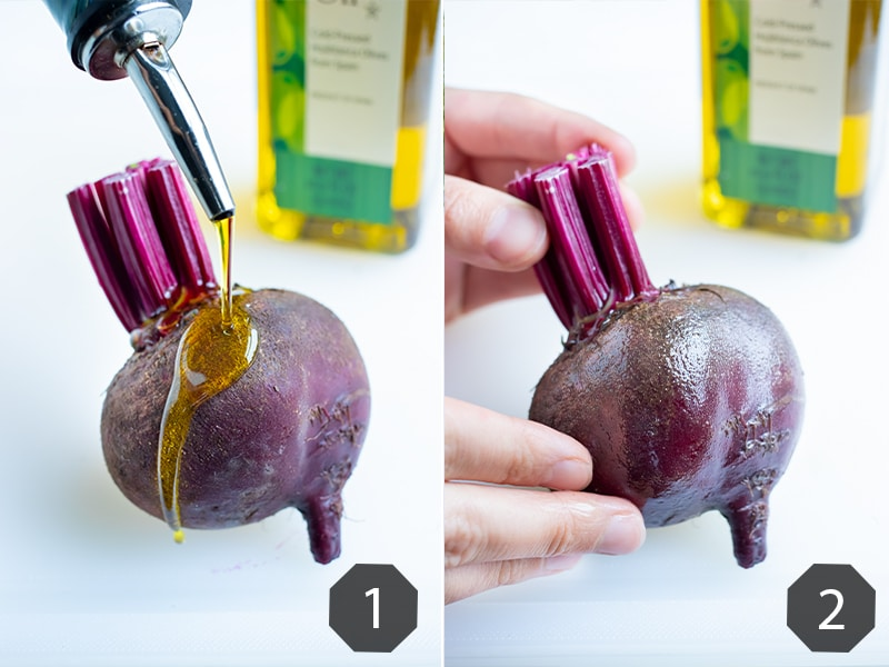 Step by step pictures show how to coat whole beets in oil before roasting.