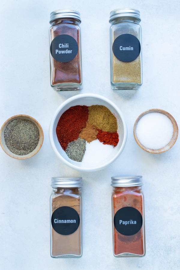 Seasonings and spices used in a homemade chili seasoning mix.