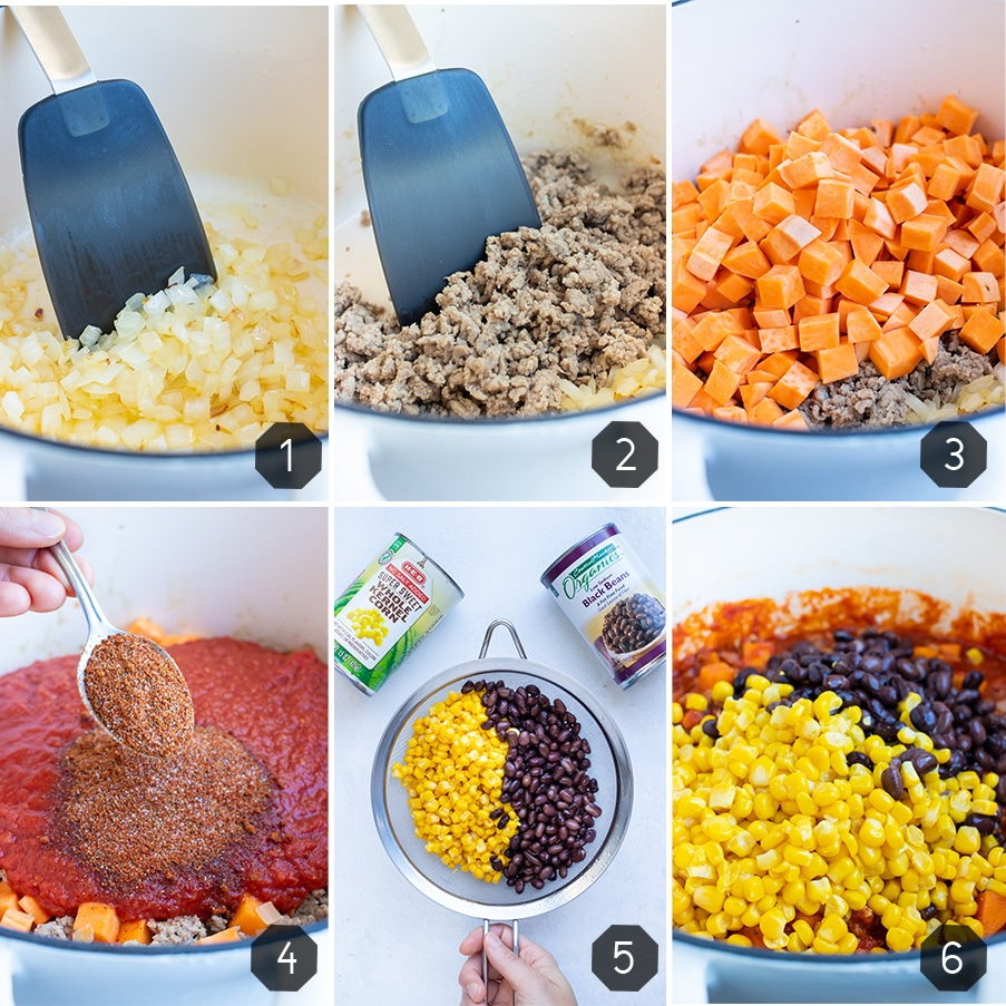 Instructional pictures for how to make a healthy chili recipe with sweet potatoes and ground turkey.