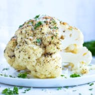 Whole roasted cauliflower head is an easy, low-carb side dish.