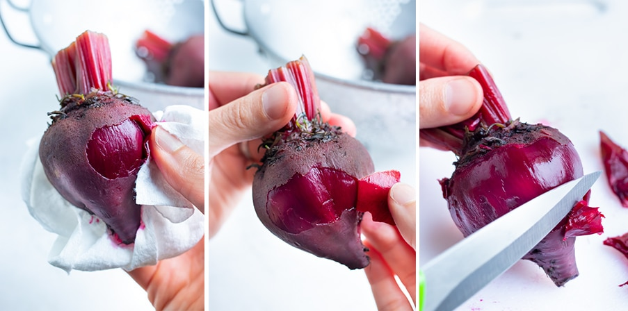 Step by step pictures for how to peel beets.