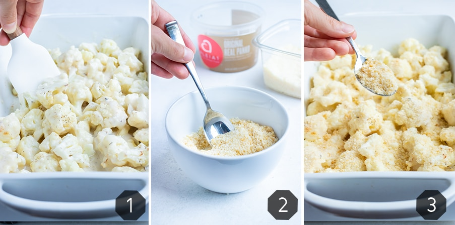 Step by step pictures for how to make Cauliflower au Gratin with a gruyere cheese sauce.
